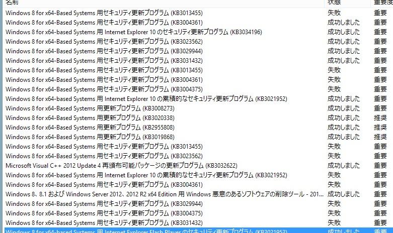 Windowsアップデート失敗結果