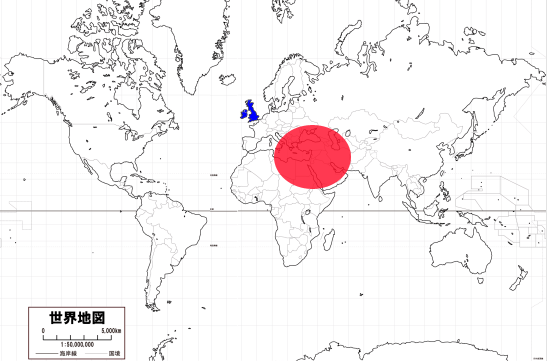 イギリス中心の地図から中東